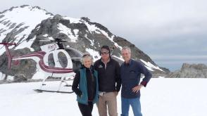 Wendy, Tom and Fox & Franz Heliservices pilot on Franz Josef glacier